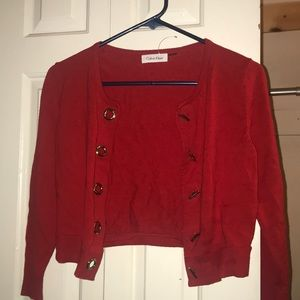 Red Calvin Klein cropped cardigan